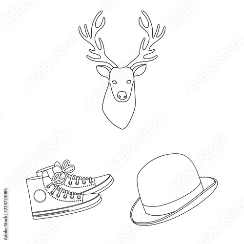 Style Hipster outline icons in set collection for design Canvas Print