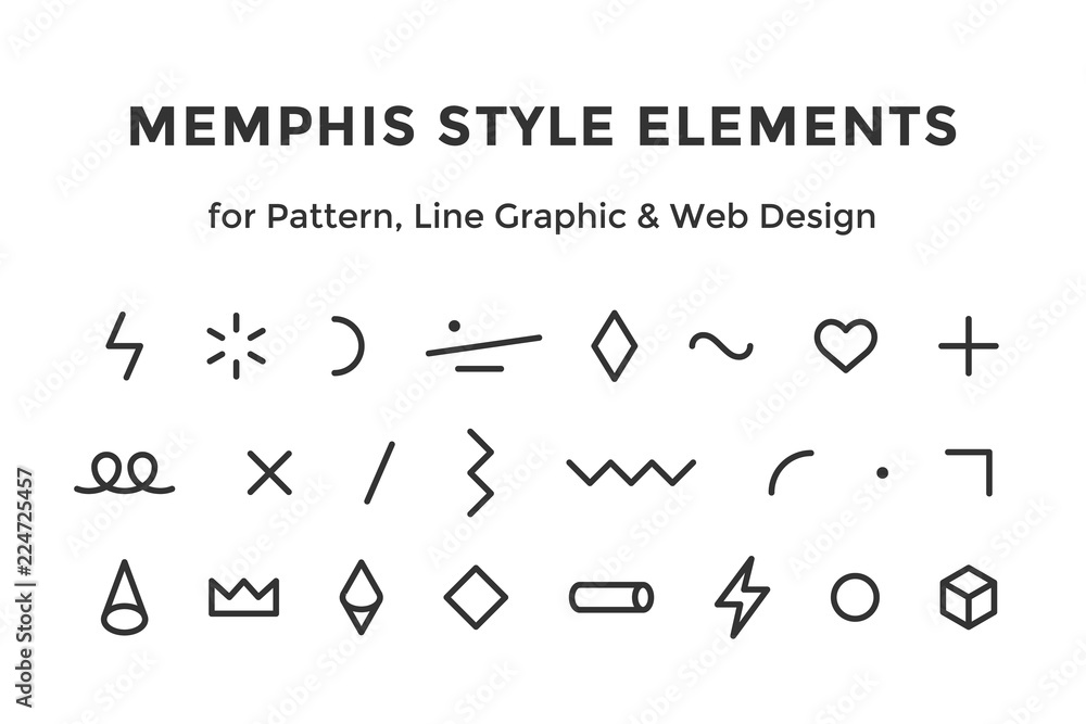 Fototapeta Memphis style elements. Set of memphis design elements, line graphic design, template for pattern, line graphic, web design. Colorful collection geometric graphic. Vector Illustration