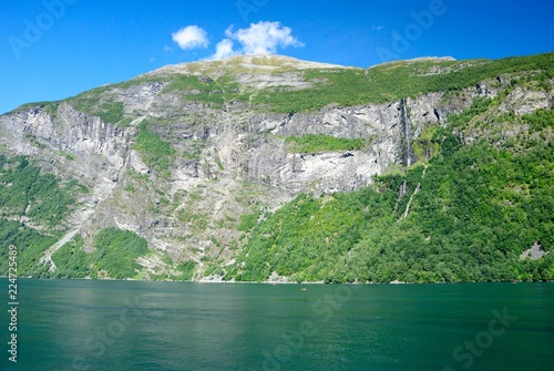 In de dag Donkergrijs View of nearby mountains and waterfalls from the Geirangerfjord in Norway