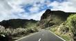 Sur la route en direction du volcan Le Teide à Ténérife, paysage sec, tropical, aride .