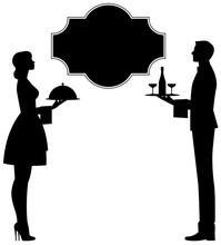 Waiter And Waitress With Trays...