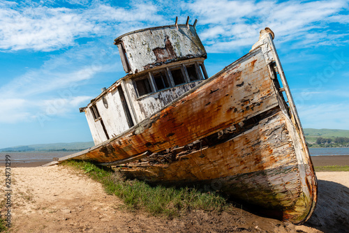 Photo grounded fishing boat