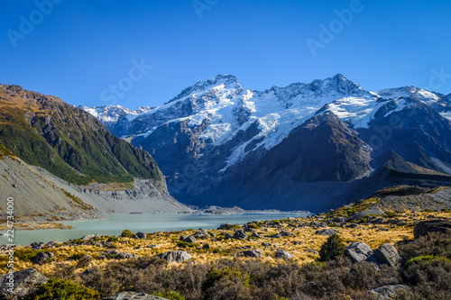 Foto op Plexiglas Oceanië Glacial lake in Hooker Valley Track, Mount Cook, New Zealand