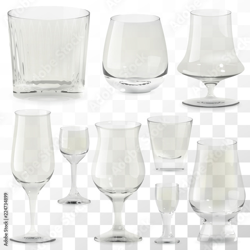 Set of vector realistic transparent whiskey glasses Canvas Print
