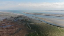 Aerial View Of Sand, Mud Flats And Sea Weed When The Tide Is Out At Chalkwell Beach Where The River Meets The Sea.