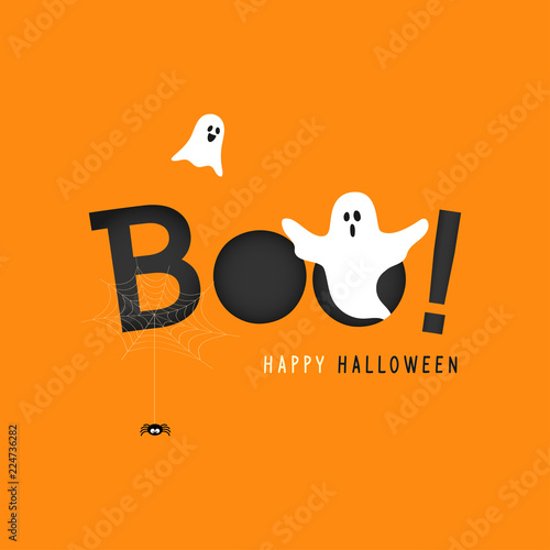 Fototapeta Happy Halloween greeting card vector illustration, Boo! with flying ghost and spider web on orange background