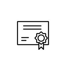 Certification Blank Line Outline Black Icon