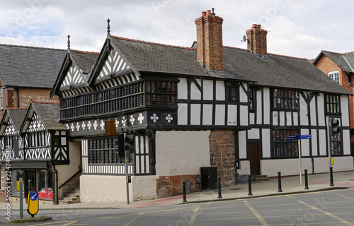 Canvas Clasic medieval half timbered building in Chester, Cheshire, England