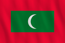 Maldives Flag With Waving Effect, Official Proportion.
