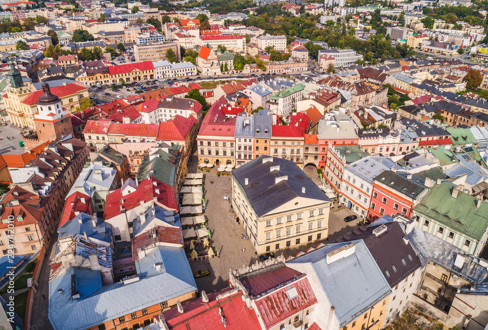 Fototapety, obrazy: Lublin z lotu ptaka. Stare miasto w Lublinie, widok z powietrza na Stary Trybunał Koronny