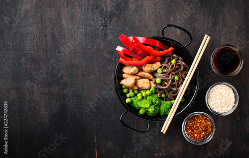 Stir fry soba with meat and vegetables Canvas Print
