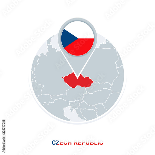 Photo  Czech Republicmap and flag, vector map icon with highlighted Czech Republic