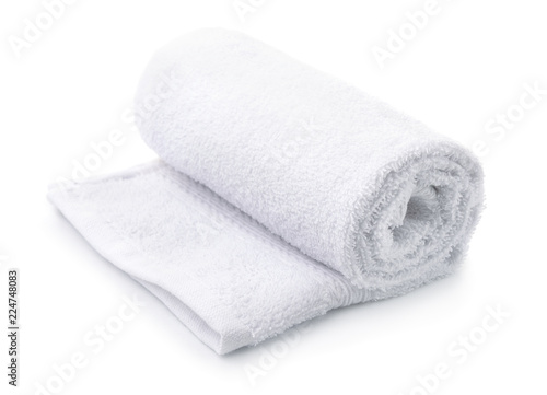 Rolled up white terry towel Fototapete