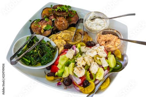 Foto op Aluminium Assortiment A food flat lay of traditional greek salad black olives sweet bell pepper fried sliced potatoes, fried eggplant