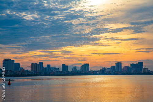 West Lake with sunset atmosphere, Hanoi vietnam.