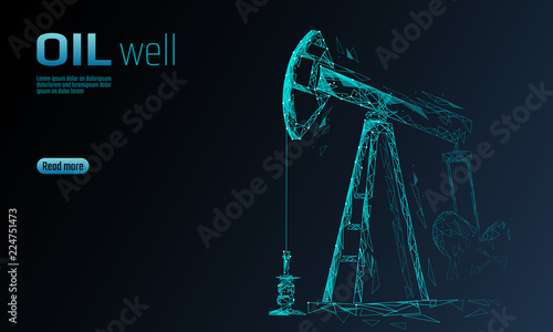 Fotografia  Oil well rig juck low poly business concept