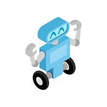 Robot On Wheels. Isometric Style