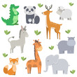 vector bundle with cute and simple cartoon animals