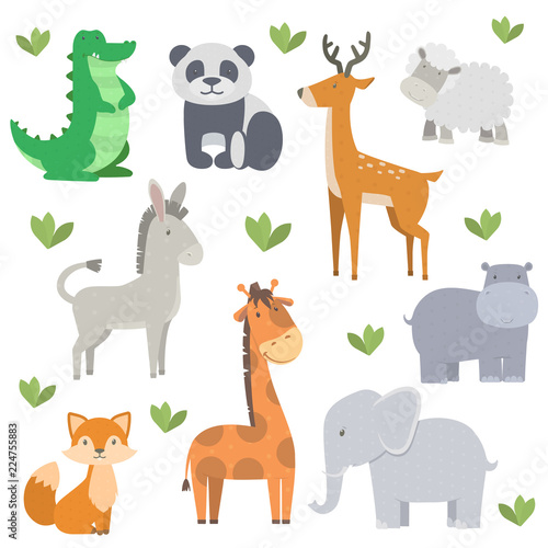 vector bundle with cute and simple cartoon animals #224755883