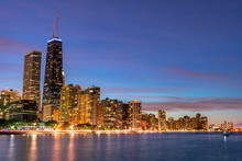 Chicago Evening Skyline With L...