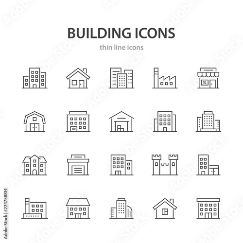 Building line icons. Wall mural