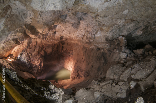 Blue lake in an underground cave Canvas Print