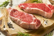 Raw Grass Fed NY Strip Steaks