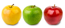 Three Apples Green, Yellow And Red On A White, Isolated.