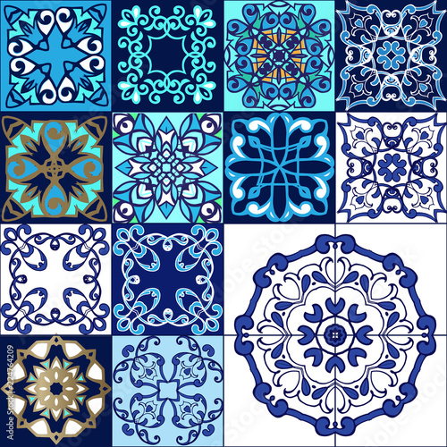 Fototapeten Künstlich Patchwork pattern from Moroccan ,Portuguese tiles. Pattern Portugal Geometric Ceramic Design Tile Vintage Illustration background Vector Texture Pattern.