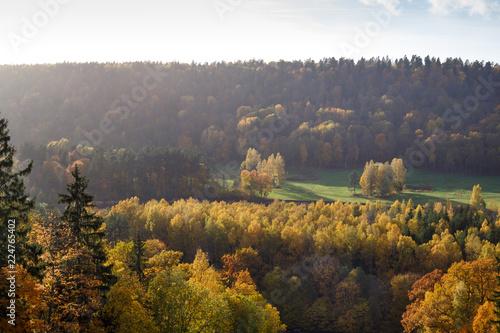 Spoed Foto op Canvas Grijze traf. Majestic landscape with autumn forest hills. Sigulda, Latvia, Europe