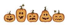 Set Of Cute Pumpkins, Ghosts, ...