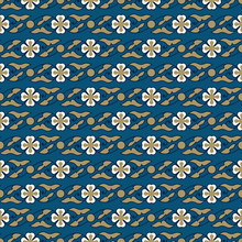 Woodblock Printed Indigo Dye Seamless Ethnic Floral Pattern. Traditional Oriental Ornament Of India Kashmir, Flower Garland Motif, Gold And Ecru On Teal Blue Background. Textile Design.