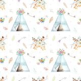 Ręcznie rysowane akwarela plemiennych Tipi wzór, Boho Ameryka tradycyjne wzory wigwam rodzimych ornament. Indyjska czeska ozdoba trójnik ze strzałkami i piórami. - 224767870