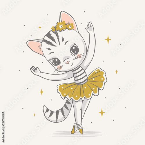 Fotografie, Obraz  Vector illustration of a cute kitty ballerina in the yellow tutu.