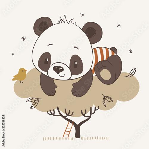 Naklejka premium Ilustracja wektorowa cute panda dla dzieci na drzewie w stylu cartoon.