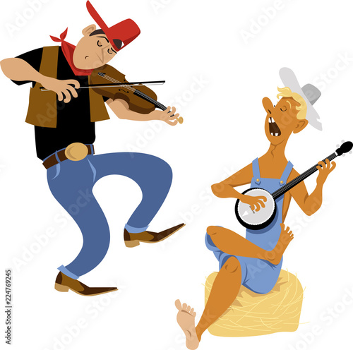 Fotografia, Obraz Country western folk musicians characters playing fiddle and banjo, EPS 8 vector