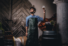 Expert Brewer In Apron Holds G...