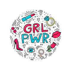 Circle illustration with words GRL PWR