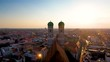 Munich Aerial Skyline view of Church in old town in city centre view of marienplatz square. Germany Bavaria