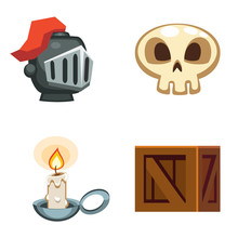 Cartoon Set Of Game Items, Skull, Helmet, Wooden Crate, Candle