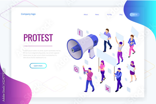 Isometric crowd of people protesters Canvas Print