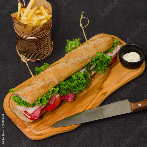 Long sandwich served with french fries and sauce. Big sandwich with ham, salami, cheese and vegetables. Long baguette sandwich