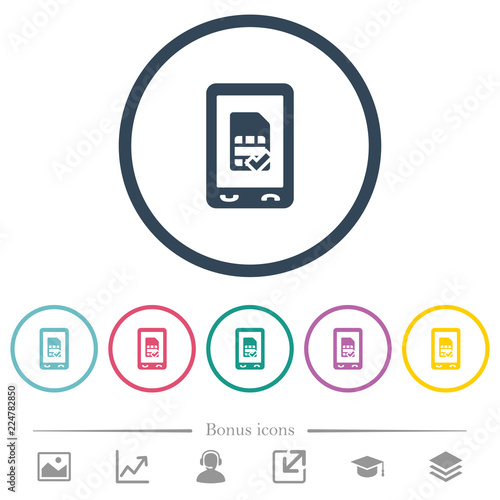Fotografie, Obraz  Mobile simcard accepted flat color icons in round outlines