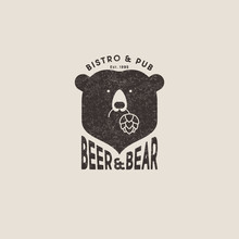 Beer And Bear Pub Logo. The Head Of Bear And Letters Emblem. Craft Beer Emblem. Bear Keeps Hop Cones.