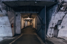 Large Corridors Of Old Soviet Military Bunker, Echo Of Cold War