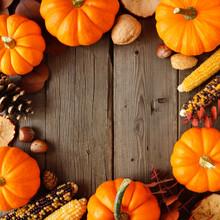 Autumn Square Frame Of Pumpkin...