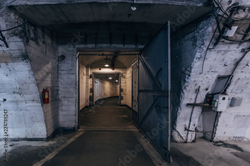 Photo  Large corridors of old Soviet military bunker, echo of cold war