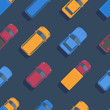 Vector seamless car pattern. Top view flat illustration.