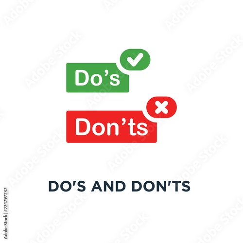 Photo  do's and don'ts red and green badge icon, symbol of rules of conduct for people