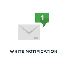 White Notification 1 Email With Speech Bubble Icon, Symbol Trend Simple Ui Logotype Graphic Design On Red Background Concept Of Online Talk Or Speak By Messages Or Full Mail Box Like Correspondence